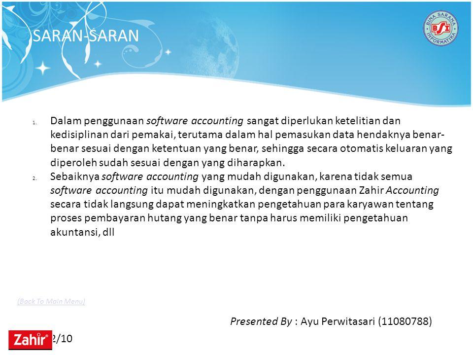 11/22/10 SARAN-SARAN Presented By : Ayu Perwitasari (11080788) 1. Dalam penggunaan software accounting sangat diperlukan ketelitian dan kedisiplinan d