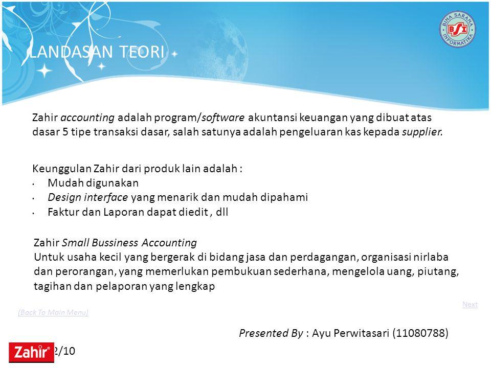 11/22/10 Zahir accounting adalah program/software akuntansi keuangan yang dibuat atas dasar 5 tipe transaksi dasar, salah satunya adalah pengeluaran k