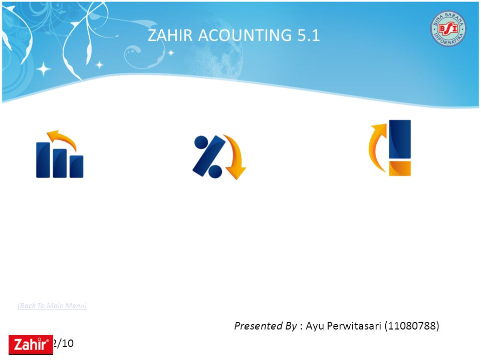 11/22/10 ZAHIR ACOUNTING 5.1 Presented By : Ayu Perwitasari (11080788) (Back To Main Menu)