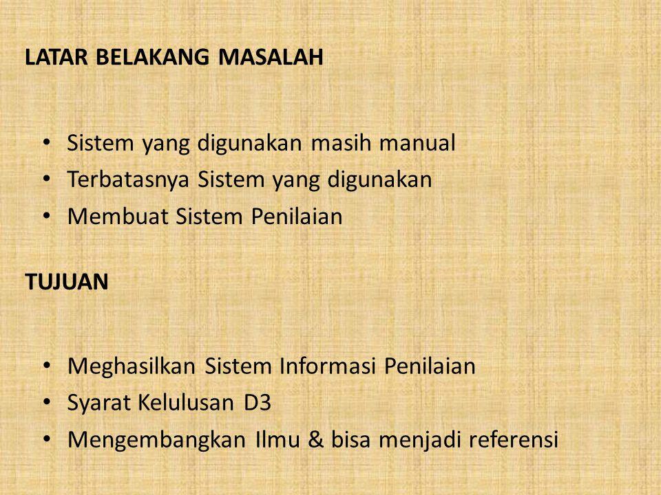 PROPOSAL TUGAS AKHIR Sistem Informasi Penilaian Pada SMA Negeri 2 Kotamobagu Menggunakan PHP MySQL Oleh Nama : Siti Fidyatul H. Agoan NIM : 2111310054