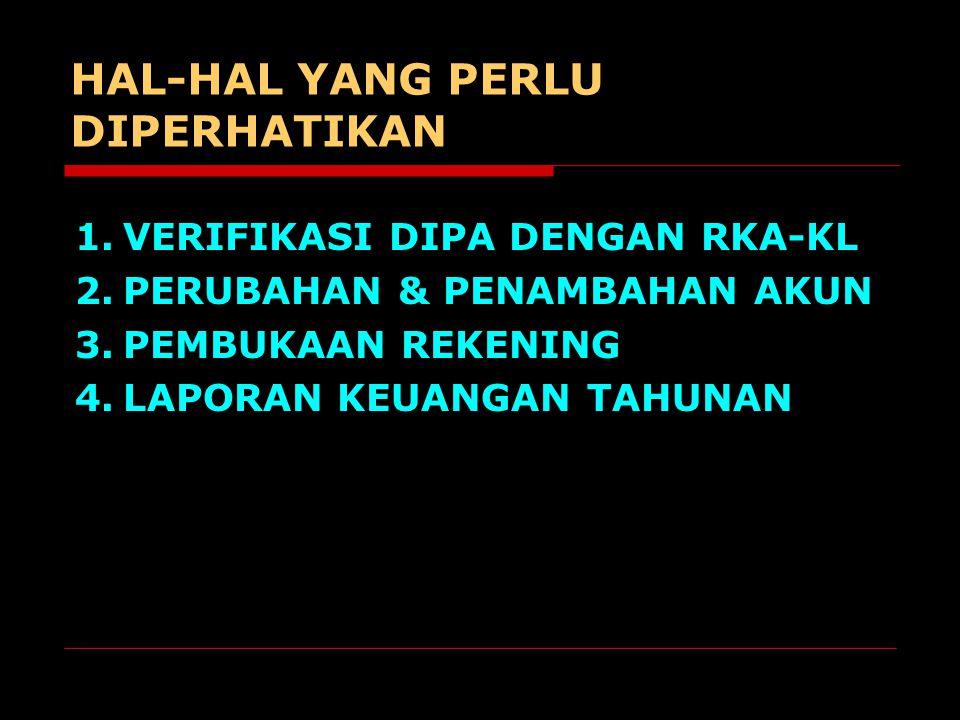 HAL-HAL YANG PERLU DIPERHATIKAN 1.VERIFIKASI DIPA DENGAN RKA-KL 2.PERUBAHAN & PENAMBAHAN AKUN 3.PEMBUKAAN REKENING 4.LAPORAN KEUANGAN TAHUNAN