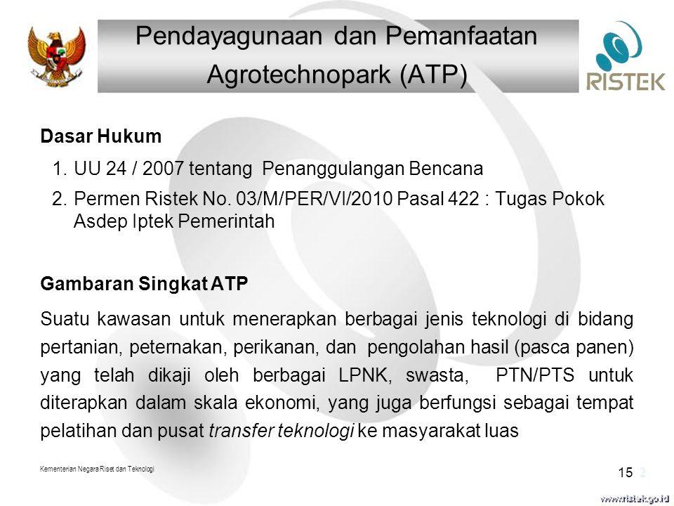 Pendayagunaan dan Pemanfaatan Agrotechnopark (ATP) Kementerian Negara Riset dan Teknologi 15 Dasar Hukum 1.UU 24 / 2007 tentang Penanggulangan Bencana 2.Permen Ristek No.