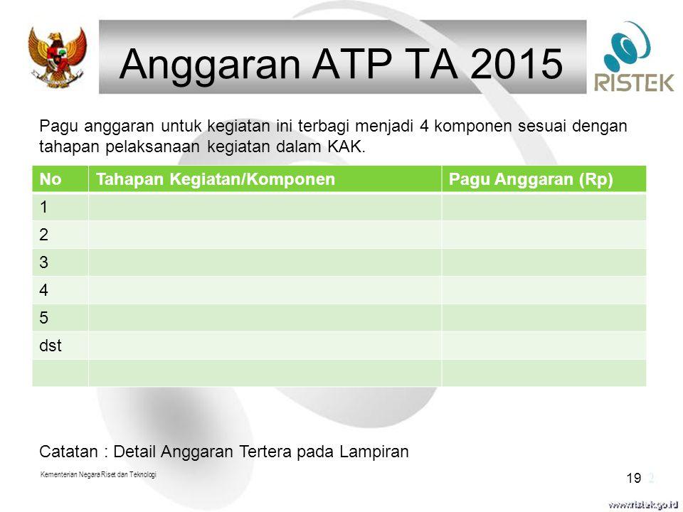 Anggaran ATP TA 2015 NoTahapan Kegiatan/KomponenPagu Anggaran (Rp) 1 2 3 4 5 dst Kementerian Negara Riset dan Teknologi 19 Pagu anggaran untuk kegiata