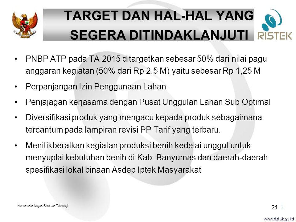 Kementerian Negara Riset dan Teknologi 21 TARGET DAN HAL-HAL YANG SEGERA DITINDAKLANJUTI PNBP ATP pada TA 2015 ditargetkan sebesar 50% dari nilai pagu