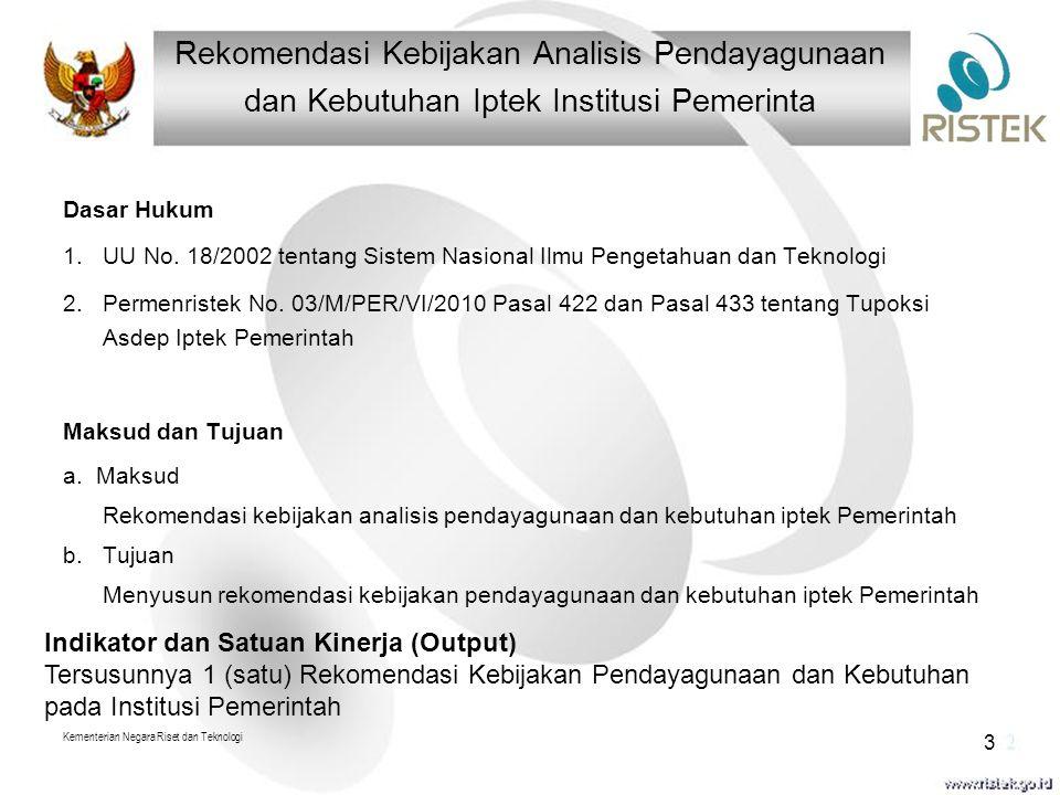 Dasar Hukum 1.UU No. 18/2002 tentang Sistem Nasional Ilmu Pengetahuan dan Teknologi 2.Permenristek No. 03/M/PER/VI/2010 Pasal 422 dan Pasal 433 tentan
