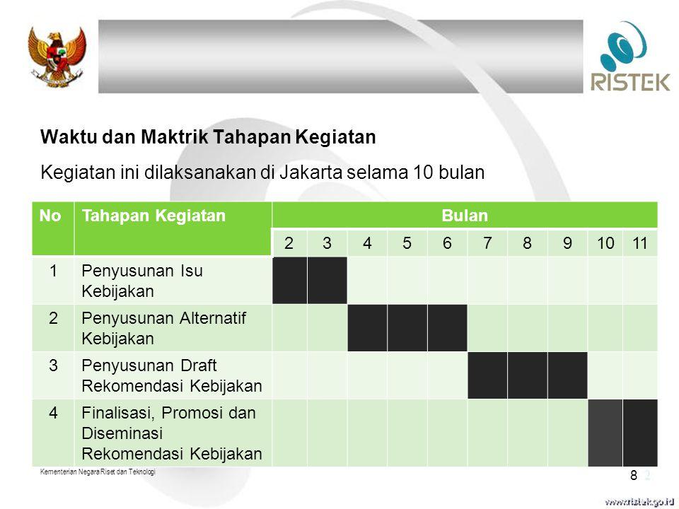 Waktu dan Maktrik Tahapan Kegiatan Kegiatan ini dilaksanakan di Jakarta selama 10 bulan Kementerian Negara Riset dan Teknologi 8 NoTahapan KegiatanBulan 234567891011 1Penyusunan Isu Kebijakan 2Penyusunan Alternatif Kebijakan 3Penyusunan Draft Rekomendasi Kebijakan 4Finalisasi, Promosi dan Diseminasi Rekomendasi Kebijakan