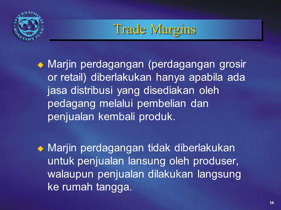 14 Trade Margins u Marjin perdagangan (perdagangan grosir or retail) diberlakukan hanya apabila ada jasa distribusi yang disediakan oleh pedagang melalui pembelian dan penjualan kembali produk.