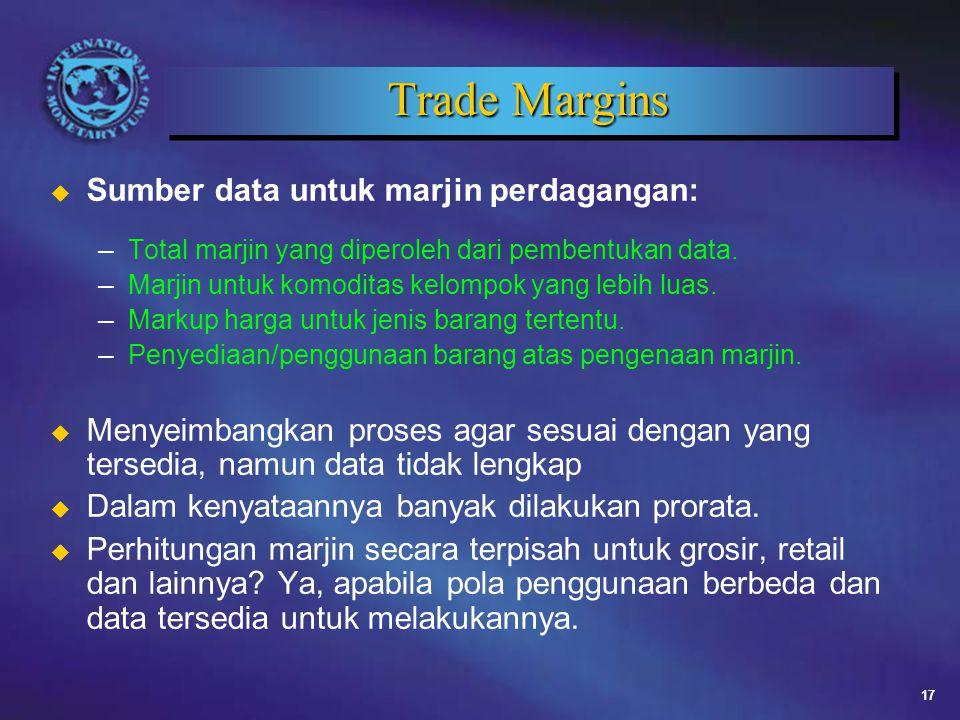 17 Trade Margins u Sumber data untuk marjin perdagangan: – Total marjin yang diperoleh dari pembentukan data.