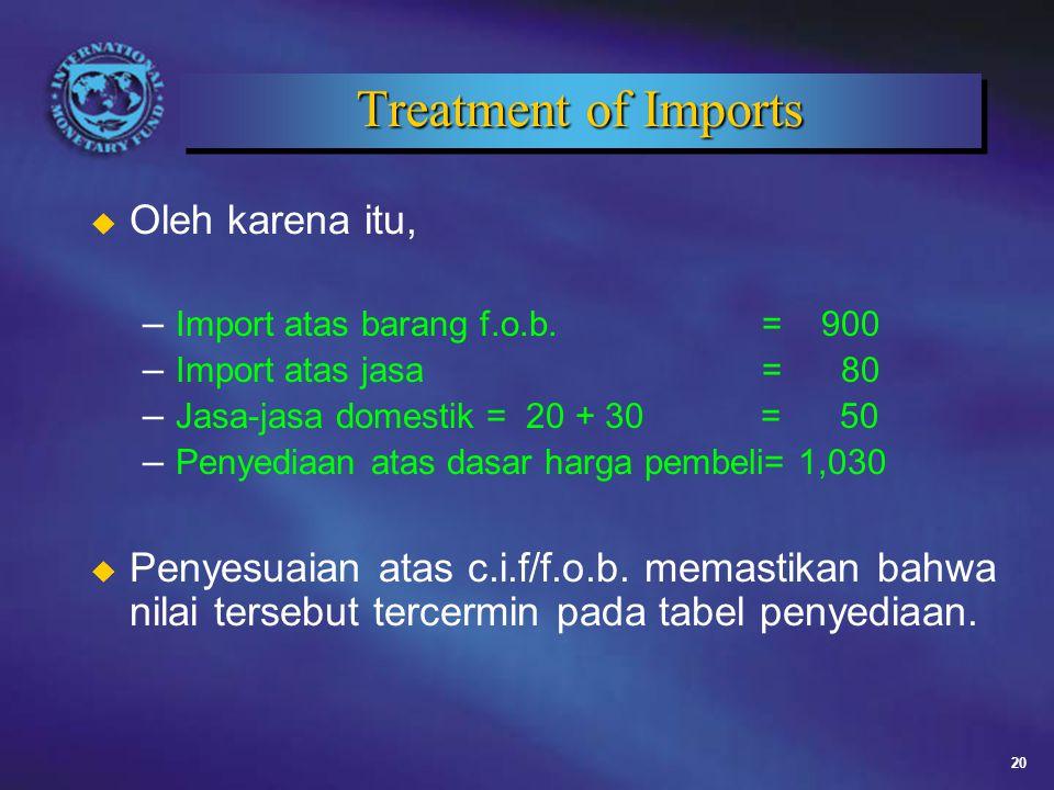20 Treatment of Imports u Oleh karena itu, – Import atas barang f.o.b.