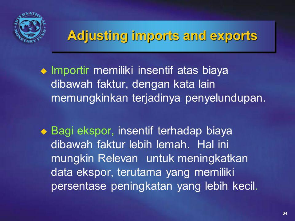 24 Adjusting imports and exports u Importir memiliki insentif atas biaya dibawah faktur, dengan kata lain memungkinkan terjadinya penyelundupan.