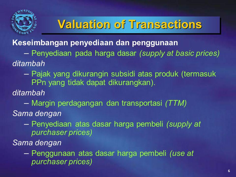 6 Valuation of Transactions Keseimbangan penyediaan dan penggunaan – Penyediaan pada harga dasar (supply at basic prices) ditambah – Pajak yang dikurangin subsidi atas produk (termasuk PPn yang tidak dapat dikurangkan).