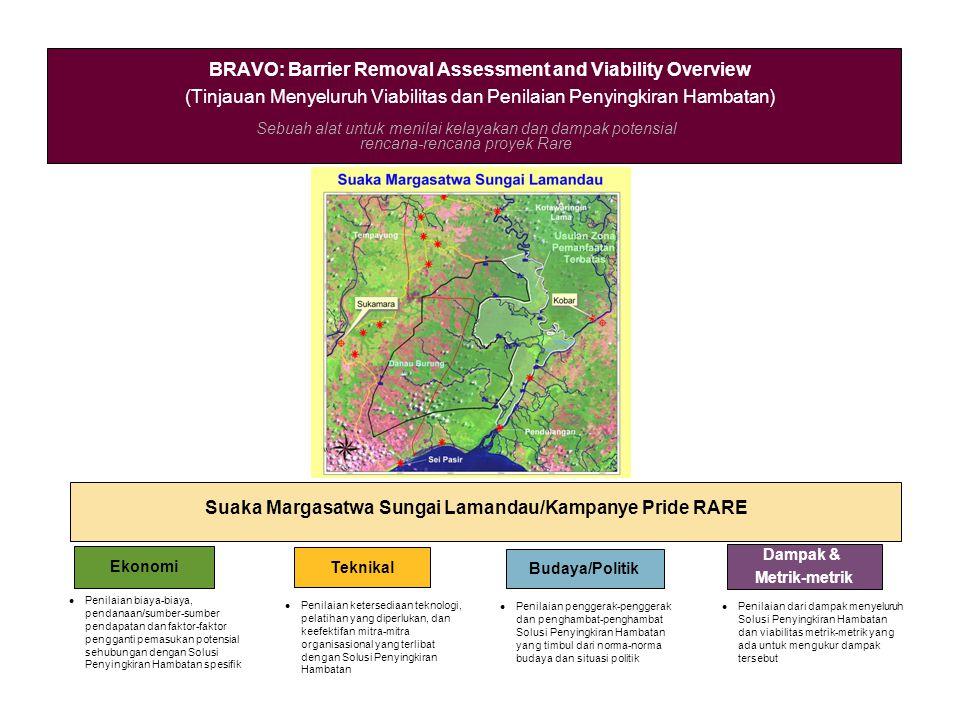 Sebuah alat untuk menilai kelayakan dan dampak potensial rencana-rencana proyek Rare BRAVO: Barrier Removal Assessment and Viability Overview (Tinjauan Menyeluruh Viabilitas dan Penilaian Penyingkiran Hambatan) Suaka Margasatwa Sungai Lamandau/Kampanye Pride RARE Ekonomi Teknikal Budaya/Politik Dampak & Metrik-metrik Penilaian biaya-biaya, pendanaan/sumber-sumber pendapatan dan faktor-faktor pengganti pemasukan potensial sehubungan dengan Solusi Penyingkiran Hambatan spesifik Penilaian ketersediaan teknologi, pelatihan yang diperlukan, dan keefektifan mitra-mitra organisasional yang terlibat dengan Solusi Penyingkiran Hambatan Penilaian penggerak-penggerak dan penghambat-penghambat Solusi Penyingkiran Hambatan yang timbul dari norma-norma budaya dan situasi politik Penilaian dari dampak menyeluruh Solusi Penyingkiran Hambatan dan viabilitas metrik-metrik yang ada untuk mengukur dampak tersebut