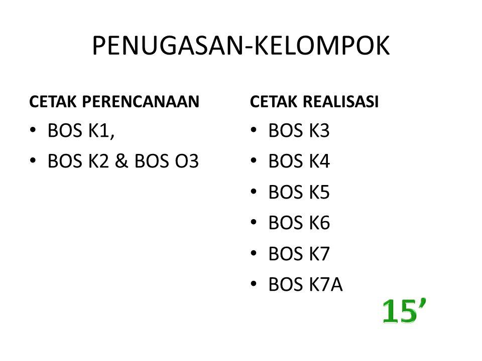 PENUGASAN-KELOMPOK CETAK PERENCANAAN BOS K1, BOS K2 & BOS O3 CETAK REALISASI BOS K3 BOS K4 BOS K5 BOS K6 BOS K7 BOS K7A