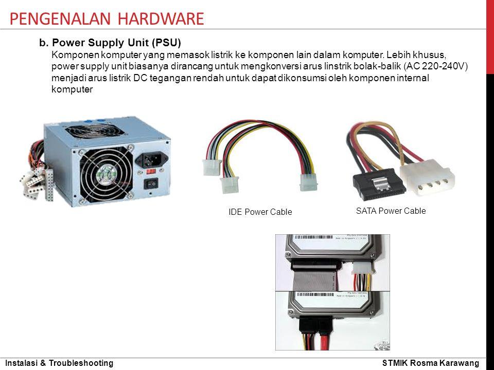 Instalasi & Troubleshooting STMIK Rosma Karawang PENGENALAN HARDWARE b. Power Supply Unit (PSU) Komponen komputer yang memasok listrik ke komponen lai