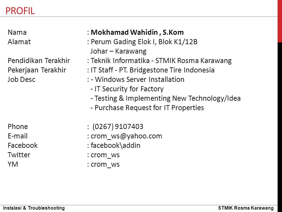 Instalasi & Troubleshooting STMIK Rosma Karawang PENGENALAN HARDWARE IC BIOSChipset Heatsink Fan Processor Thermal Paste / Grease