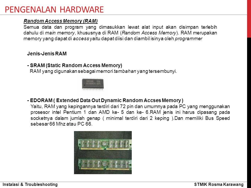 Instalasi & Troubleshooting STMIK Rosma Karawang PENGENALAN HARDWARE Random Access Memory (RAM) Semua data dan program yang dimasukkan lewat alat inpu