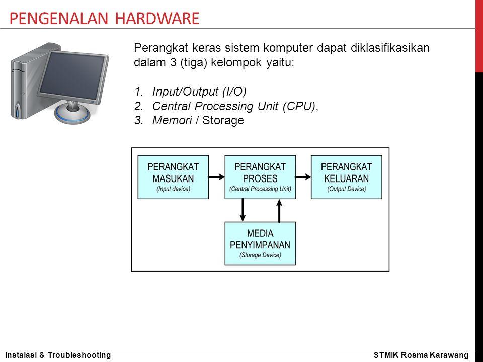 Instalasi & Troubleshooting STMIK Rosma Karawang Perangkat keras sistem komputer dapat diklasifikasikan dalam 3 (tiga) kelompok yaitu: 1.Input/Output