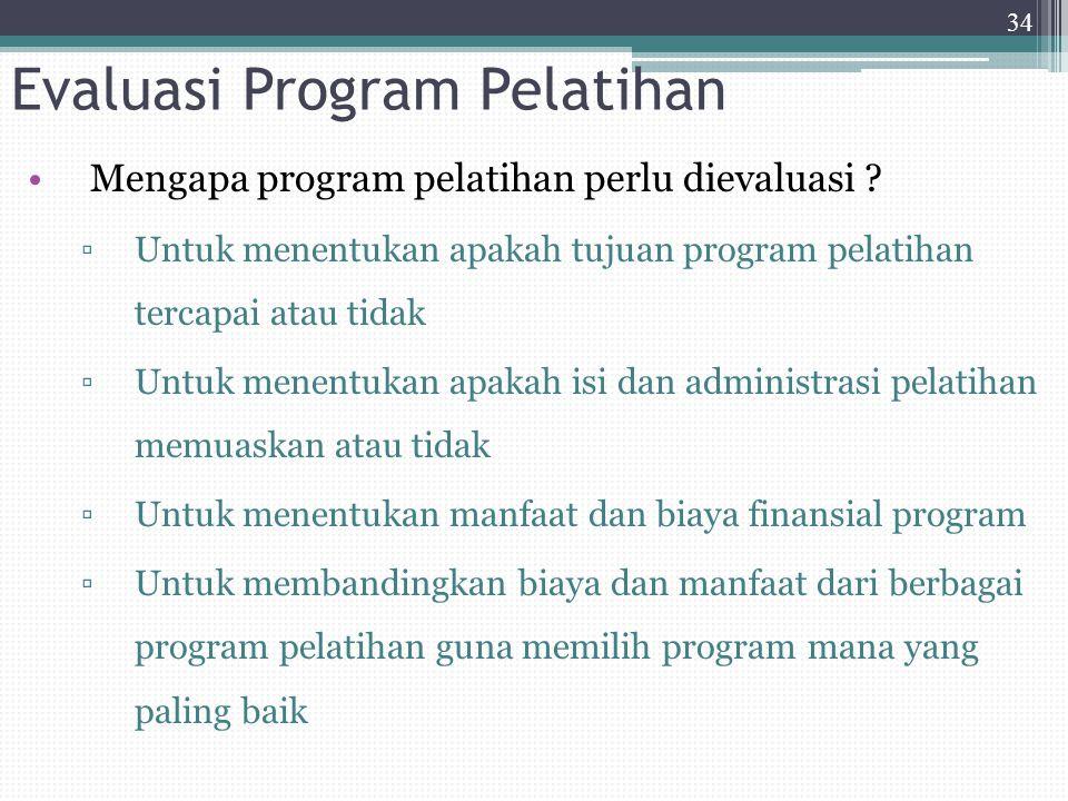 Evaluasi Program Pelatihan Mengapa program pelatihan perlu dievaluasi ? ▫Untuk menentukan apakah tujuan program pelatihan tercapai atau tidak ▫Untuk m