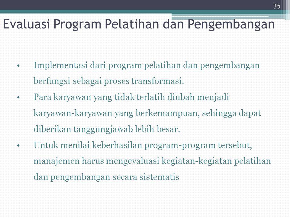Evaluasi Program Pelatihan dan Pengembangan Implementasi dari program pelatihan dan pengembangan berfungsi sebagai proses transformasi. Para karyawan