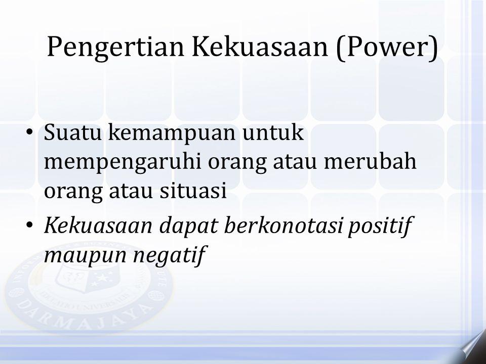 Pengertian Kekuasaan (Power) Suatu kemampuan untuk mempengaruhi orang atau merubah orang atau situasi Kekuasaan dapat berkonotasi positif maupun negat