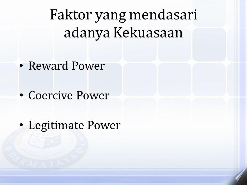 Faktor yang mendasari adanya Kekuasaan Reward Power Coercive Power Legitimate Power