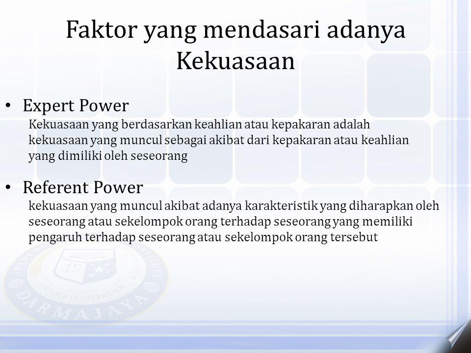 Faktor yang mendasari adanya Kekuasaan Expert Power Kekuasaan yang berdasarkan keahlian atau kepakaran adalah kekuasaan yang muncul sebagai akibat dar