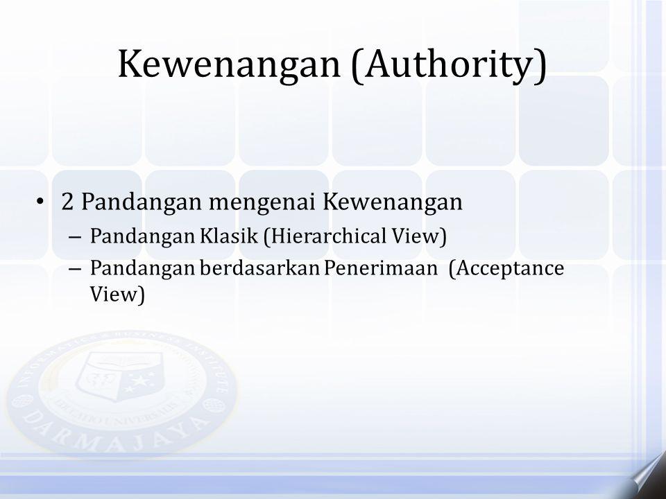 Kewenangan (Authority) 2 Pandangan mengenai Kewenangan – Pandangan Klasik (Hierarchical View) – Pandangan berdasarkan Penerimaan (Acceptance View)