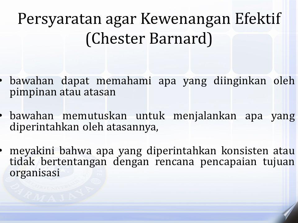 Persyaratan agar Kewenangan Efektif (Chester Barnard) bawahan dapat memahami apa yang diinginkan oleh pimpinan atau atasan bawahan memutuskan untuk me
