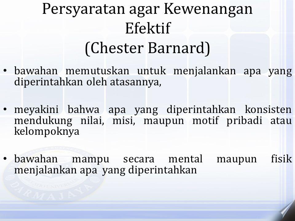 Persyaratan agar Kewenangan Efektif (Chester Barnard) bawahan memutuskan untuk menjalankan apa yang diperintahkan oleh atasannya, meyakini bahwa apa y