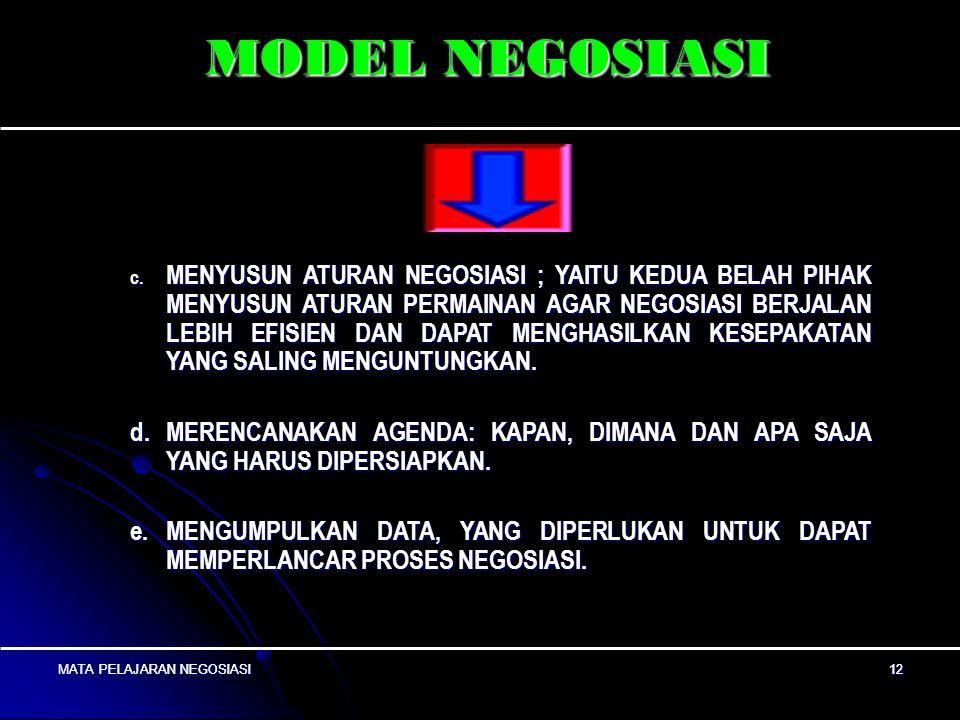 MATA PELAJARAN NEGOSIASI11 MATA PELAJARAN NEGOSIASI 11 MODEL NEGOSIASI * MODEL 2 MEMPUNYAI 3 TAHAP YAITU : 1. PRA - NEGOSIASI a. TAHAP INITIATION TAHA