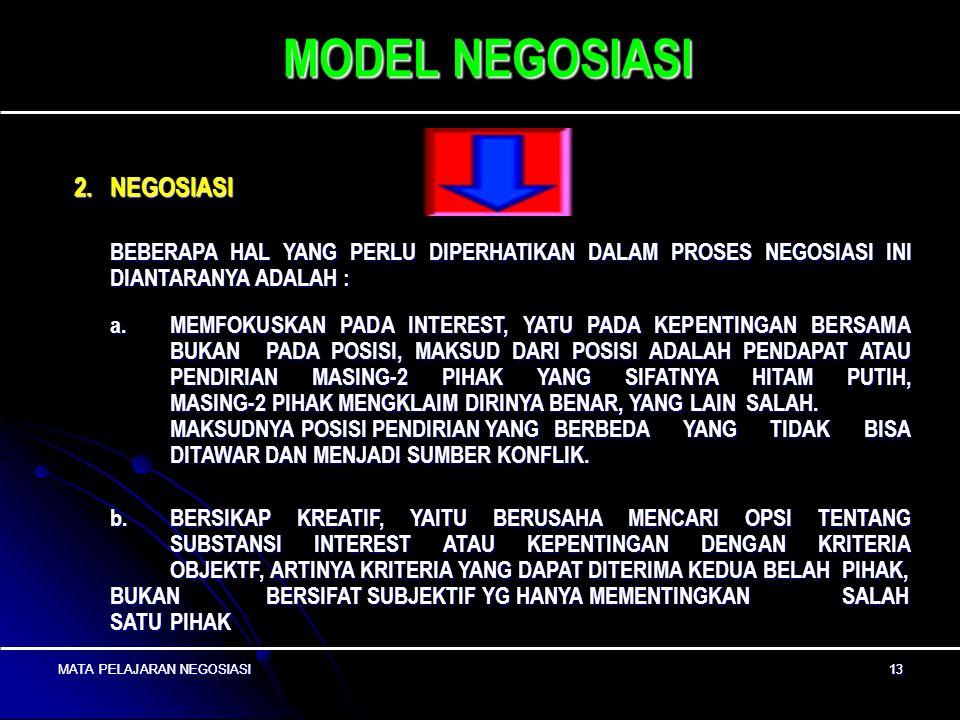 MATA PELAJARAN NEGOSIASI12 MATA PELAJARAN NEGOSIASI 12 MODEL NEGOSIASI c. MENYUSUN ATURAN NEGOSIASI ; YAITU KEDUA BELAH PIHAK MENYUSUN ATURAN PERMAINA