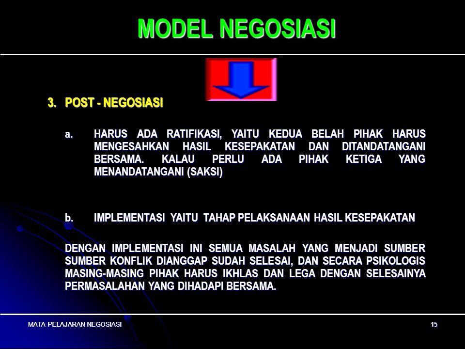 MATA PELAJARAN NEGOSIASI14 MATA PELAJARAN NEGOSIASI 14 MODEL NEGOSIASI c. MENGADAKAN EVALUASI TERHADAP OPSI TERSEBUT, DISAMPING ITU DIPERLUKAN PERTIMB