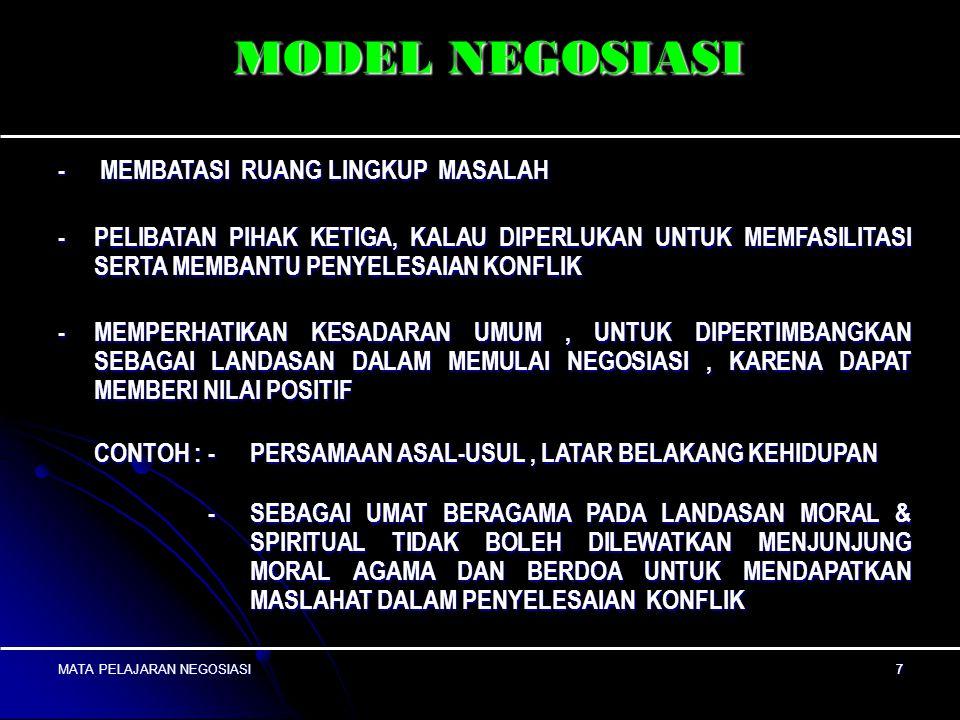 MATA PELAJARAN NEGOSIASI6 6 MODEL NEGOSIASI ADA BEBERAPA MODEL DLM BERNEGOSIASI, DAPAT DIGUNAKAN SECARA SENDIRI-2, ATAU KOMBINASI DARI DUA MODEL. MODE