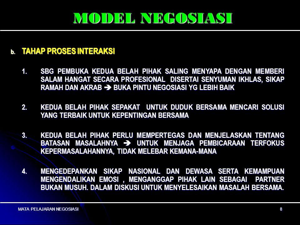 MATA PELAJARAN NEGOSIASI8 8 MODEL NEGOSIASI b.
