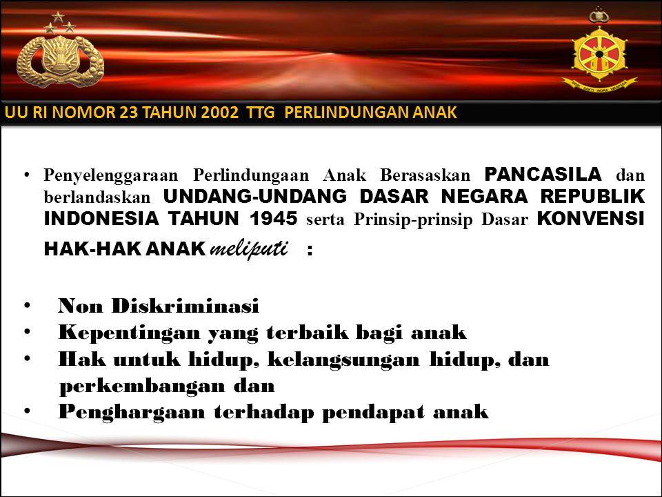 Penyelenggaraan Perlindungaan Anak Berasaskan PANCASILA dan berlandaskan UNDANG-UNDANG DASAR NEGARA REPUBLIK INDONESIA TAHUN 1945 serta Prinsip-prinsip Dasar KONVENSI HAK-HAK ANAK meliputi : Non Diskriminasi Kepentingan yang terbaik bagi anak Hak untuk hidup, kelangsungan hidup, dan perkembangan dan Penghargaan terhadap pendapat anak UU RI NOMOR 23 TAHUN 2002 TTG PERLINDUNGAN ANAK