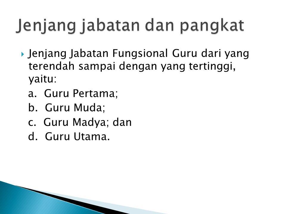  Jenjang Jabatan Fungsional Guru dari yang terendah sampai dengan yang tertinggi, yaitu: a. Guru Pertama; b. Guru Muda; c. Guru Madya; dan d. Guru Ut