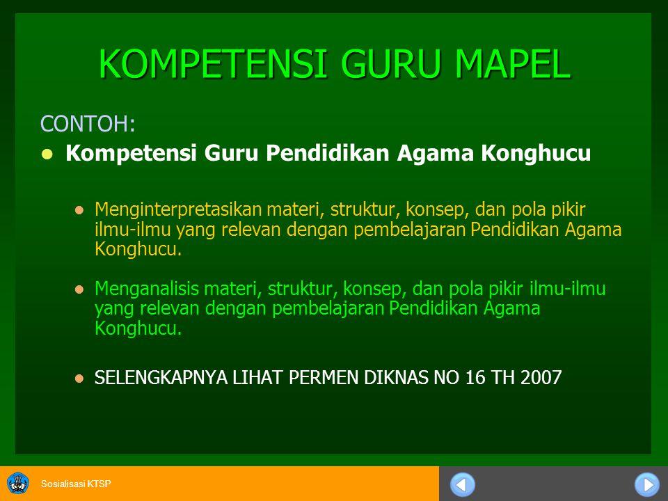 Sosialisasi KTSP KOMPETENSI GURU MAPEL CONTOH: Kompetensi Guru Pendidikan Agama Konghucu Menginterpretasikan materi, struktur, konsep, dan pola pikir