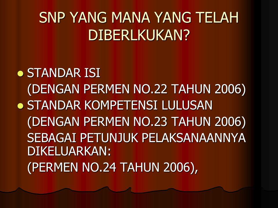 STANDAR NASIONAL PENDIDIKAN 1.STANDAR ISI 2. STANDAR PROSES 3.