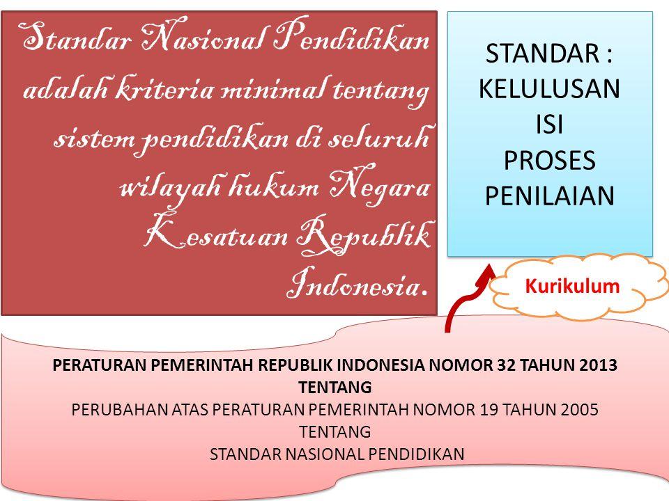 Standar Nasional Pendidikan adalah kriteria minimal tentang sistem pendidikan di seluruh wilayah hukum Negara Kesatuan Republik Indonesia. PERATURAN P