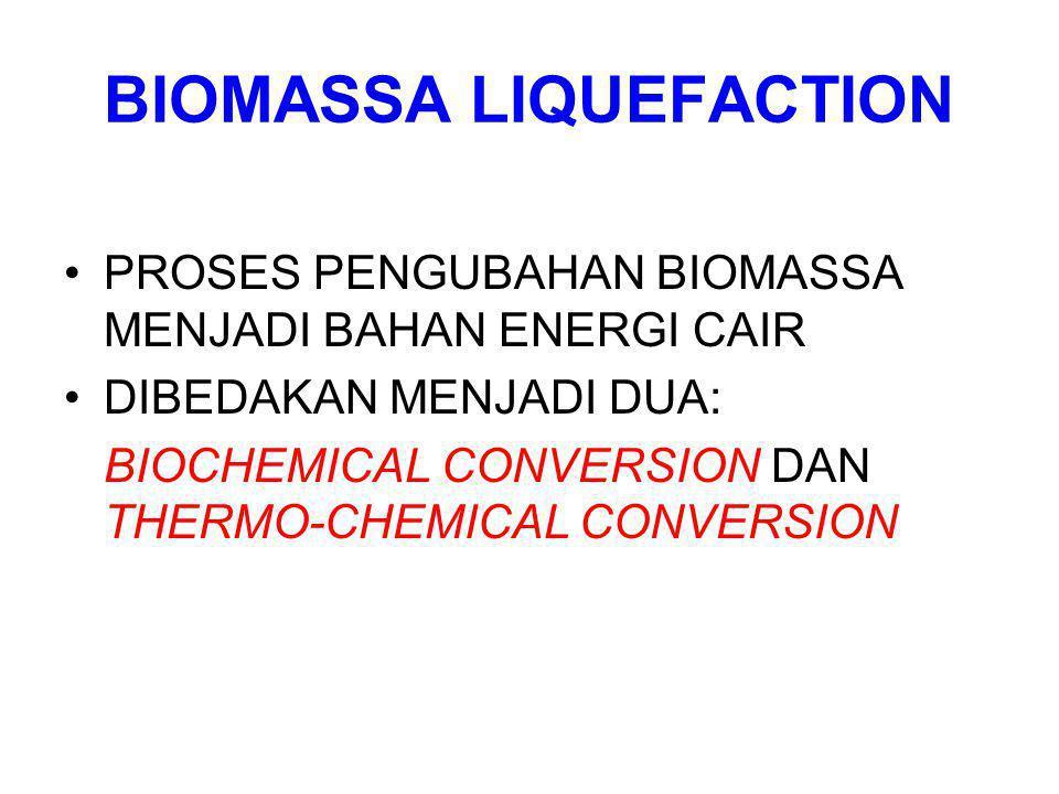 BIOMASSA LIQUEFACTION PROSES PENGUBAHAN BIOMASSA MENJADI BAHAN ENERGI CAIR DIBEDAKAN MENJADI DUA: BIOCHEMICAL CONVERSION DAN THERMO-CHEMICAL CONVERSIO