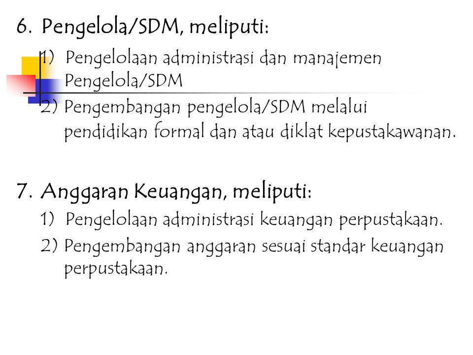 4.Sistem dan Metode, meliputi: 1) Pengembangan koleksi bahan pustaka sesuai aturan. 2) Pengolahan bahan pustaka sesuai aturan. 3) Penyimpanan dan pele