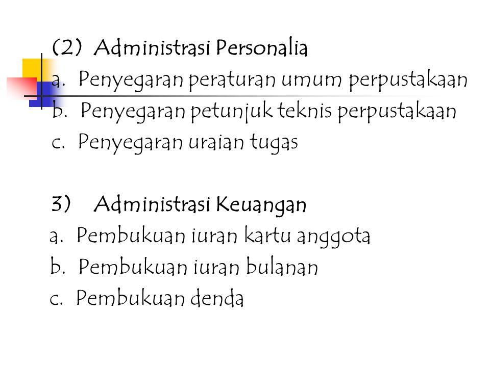 2. PELAKSANAAN KEGIATAN ADMINISTRASI DAN MENAJEMEN KEPUSTAKAWANAN : 1)Administrasi: (1) Administrasi Tata Usaha: a. Reinventarisir inventaris perpusta