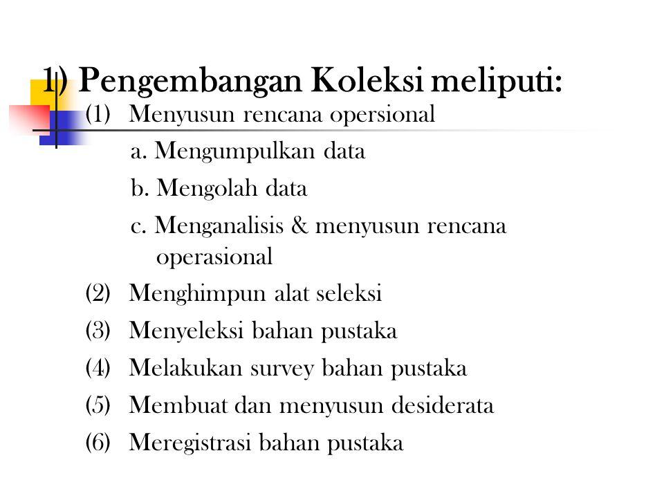 2) Pengorganisasian & pendayagunaan koleksi bahan pustaka, meliputi: (1) Pengembangan koleksi (2)Pengolahan bahan pustaka (3)Penyimpanan & pelestarian