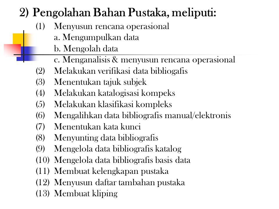 1) Pengembangan Koleksi meliputi: (1)Menyusun rencana opersional a. Mengumpulkan data b. Mengolah data c. Menganalisis & menyusun rencana operasional