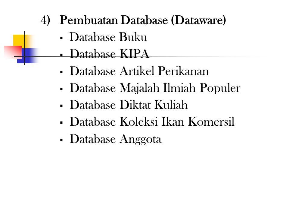4)Pelatihan Petugas (Brainware) Pelatihan operator metadata Pelatihan administrasi digitasi dokumen Pelatihan administrasi database Pelatihan pengelol