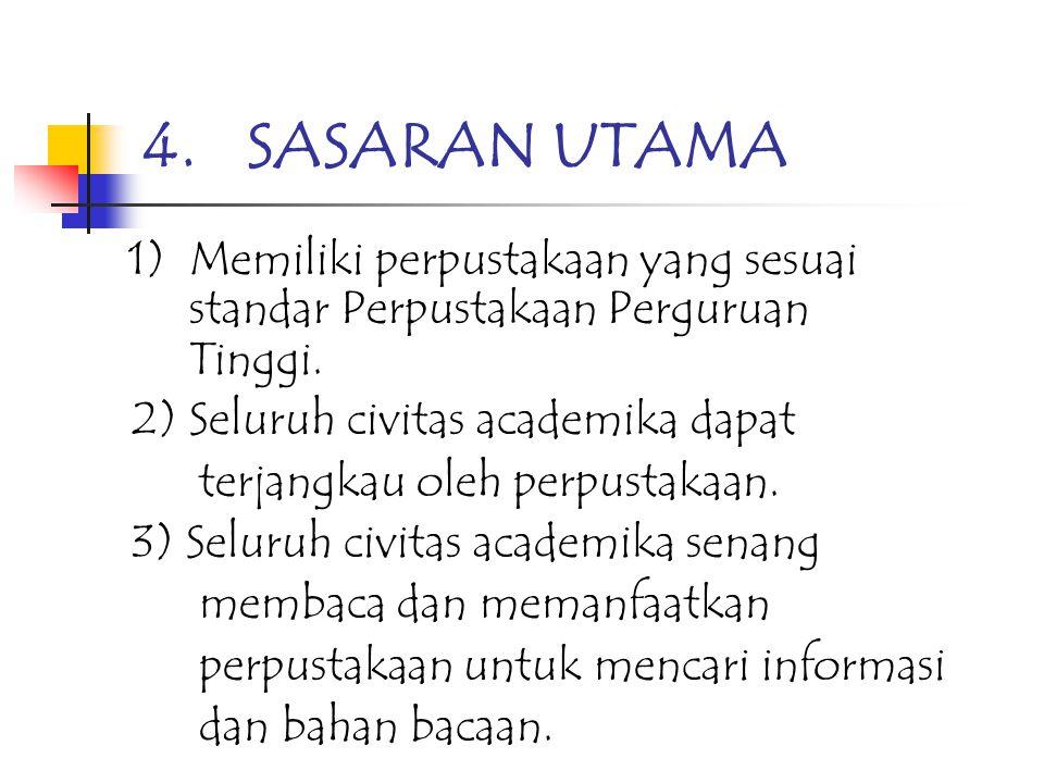 2.RENSTRA PERPUSTAKAAN 1) Menyusun kebijakan konseptual 2) Menyusun kebijakan progam 3.SASARAN ANTARA PERPUSTAKAAN JURLUHKAN Sasaran antara Perpustaka