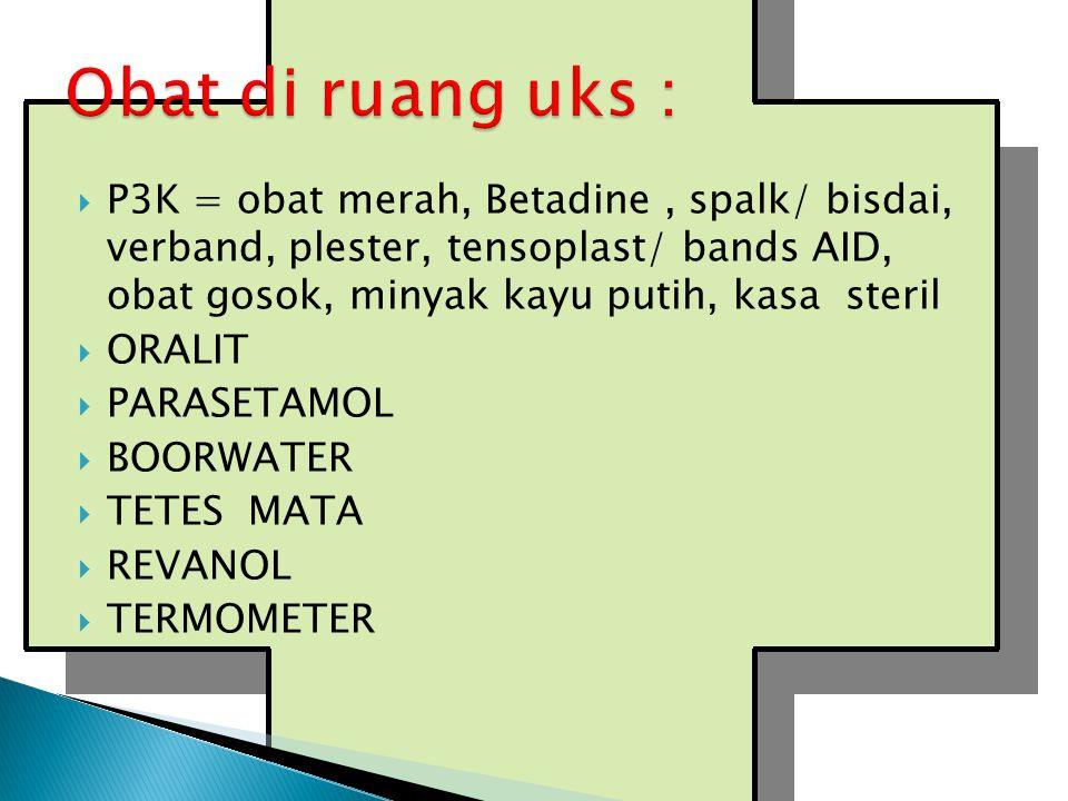  P3K = obat merah, Betadine, spalk/ bisdai, verband, plester, tensoplast/ bands AID, obat gosok, minyak kayu putih, kasa steril  ORALIT  PARASETAMOL  BOORWATER  TETES MATA  REVANOL  TERMOMETER