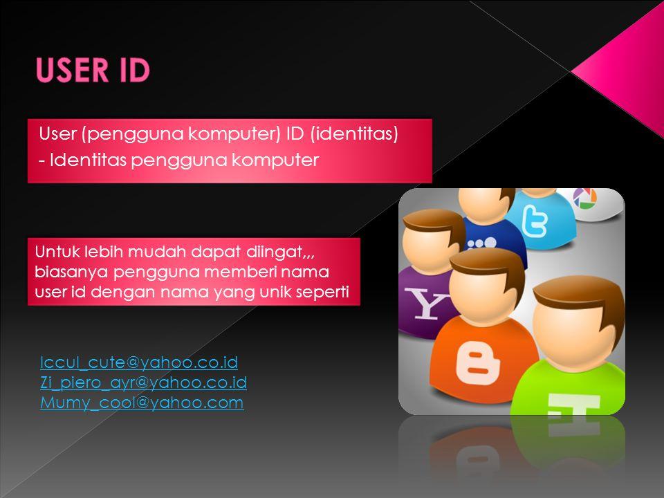 User (pengguna komputer) ID (identitas) - Identitas pengguna komputer User (pengguna komputer) ID (identitas) - Identitas pengguna komputer Untuk lebi