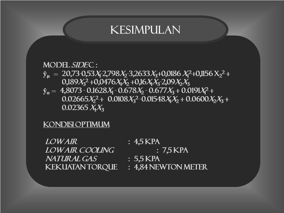 kesimpulan1 Kesimpulan model side C : ŷ  = 20,73-0,53x 1 -2,798x 2 -3,2633x 3 +0,0186 x 1 2 +0,1156 x 2 2 + 0,189x 3 2 +0,0476x 1 x 2 +0,16x 1 x 3 -2,09x 2 x 3 ŷ  = 4,8073 - 0.1628x 1 - 0.678x 2 - 0.677x 3 + 0.0191x 1 2 + 0.02665x 2 2 + 0.0108x 3 2 -0.01548x 1 x 2 + 0.0600x 2 x 3 + 0.02365 x 1 x 3 Kondisi Optimum Low air : 4,5 Kpa Low air cooling : 7,5 Kpa Natural gas : 5,5 Kpa Kekuatan torque: 4,84 Newton meter