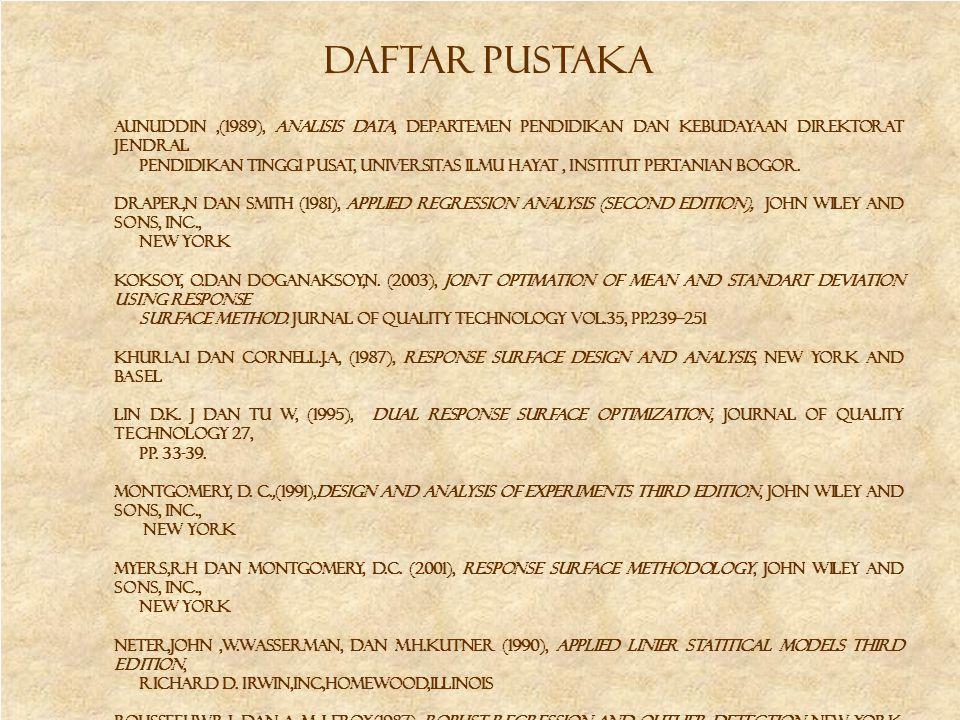 Daftar pustaka Aunuddin,(1989), Analisis data, Departemen Pendidikan dan Kebudayaan Direktorat Jendral Pendidikan Tinggi Pusat, Universitas Ilmu Hayat
